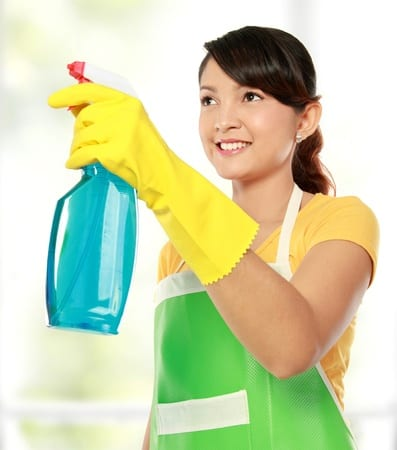 12371626 - portrait of asian woman holding a sprayer. ready for cleaning